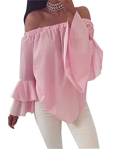 Mujer Camiseta Blusa Fuera Del Hombro Mangas Largas Elegante Oficina Casual