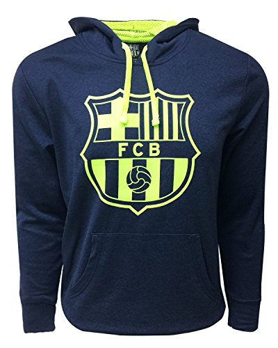 - FC Barcelona Hoodie Adults, Official Barcelona Navy Pull Over Hoodie, Navy/Neon Color, Hooded Sweatshir (Small)