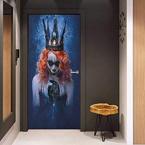 (Automatic Door Sticker Queen Queen of Death Scary Body Art Halloween Evil Face Bizarre Make Up Zombie Easy-to-Clean, Durable W17.1 x H78.7 Navy Blue Orange)