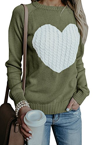 FUMIKAZU Womens Casual Pullover Sweater Long Sleeve Crew Neck Heart Printed Knit Sweater Tunic Tops ()