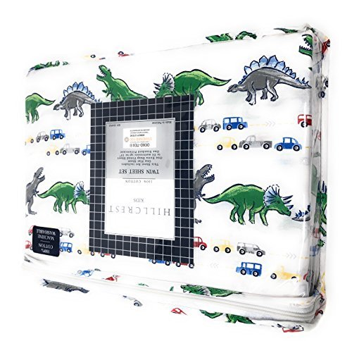 Hillcrest kids Colorful Dinosaurs Roaming in Traffic on White TWIN Sheet Set | 100% Cotton | Red/Green/Yellow/Blue