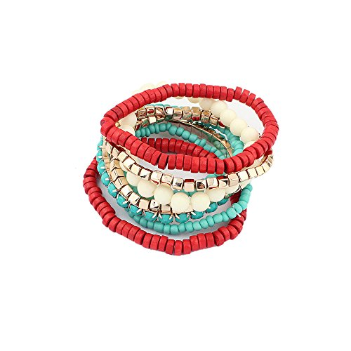 LUREME Bohemian Beads Cube Multi Strand Stretch Stackable Bangle Bracelet Set-Red (bl003172-3)