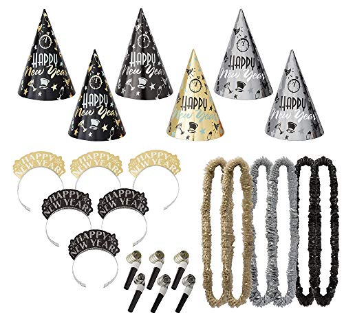 Amscan Elegant Eve New Year's Party Kit for 25, Includes Cone Hats and Tiaras]()