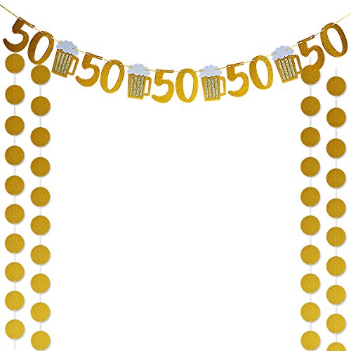 Gold Glittery Beer Mug & 50 Banner and Gold Glittery Circle Dots Garland,for 50th Birthday,Wedding,Anniversary Party Decor 50th Anniversary Themes