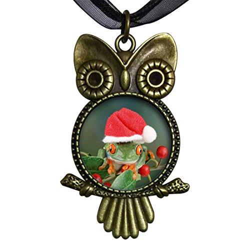 GiftJewelryShop Bronze Retro Style Holly Hopping Santa Frog Owl Charm Pendant Necklace