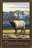 Northwest Art Mall Montana Wildlife Whistling Elk Metal Art Print by Paul A. Lanquist (12' x 18')