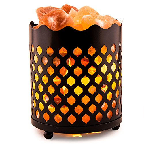CRYSTAL DECOR Natural Himalayan Salt Lamp with Salt Chunks in Cylinder Design Metal Basket and Dimmable Cord - Flame Design