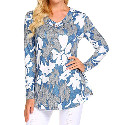 (YKARITIANNA Womens Long Sleeve Floral Print V Neck Button Shirt Casual Tunic Blouses Tops)