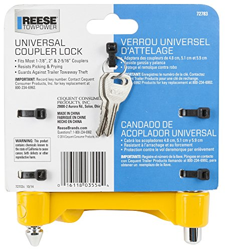 REESE Towpower 72783 Universal Coupler Lock, Adjustable Storage Security, Heavy-Duty Steel, Yellow and Chrome