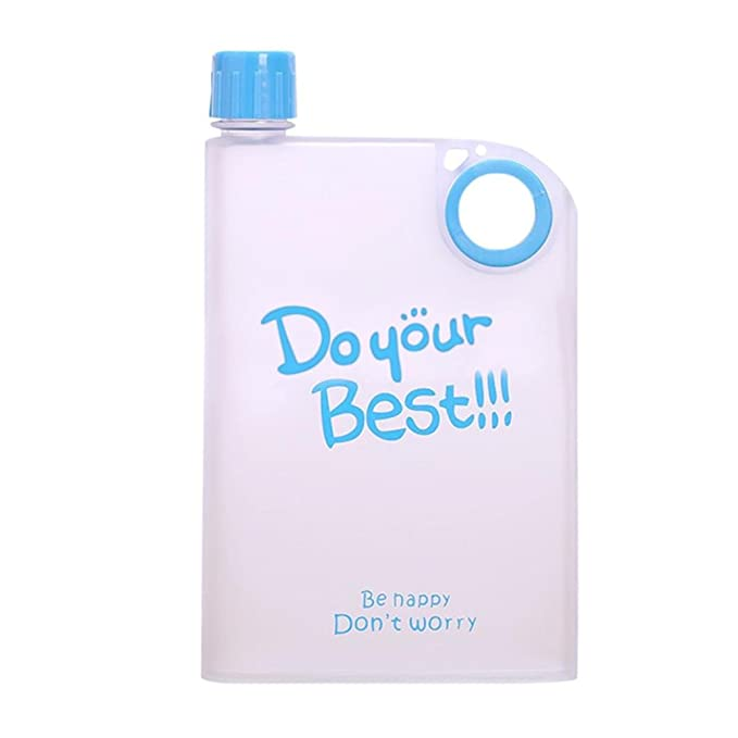 Flat water bottle for school