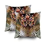 ROOLAYS Decorative Throw Square Pillow Case Cover 20X20Inch,Cotton Cushion Covers flower leopard background Both Sides Printing Invisible Zipper Home Sofa Decor Sets 2 PCS Pillowcase