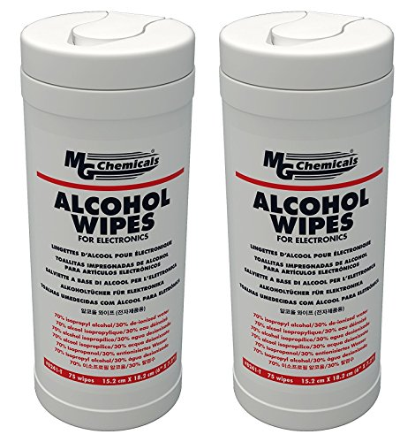 MG Chemicals 8241-T Multi Purpose Alcohol Wipe (70% IPA), 7.2'' Length x 6'' Width (Tub of 75) (2 PACK) by MG Chemicals