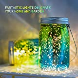 Solar Glass Mason Jars Lights - 4 Pack SUNWIND Waterproof Solar Table Lights Outdoor Hanging Solar Lights with Handle for Garden, Patio, Home, Holiday Decor (Color 1)