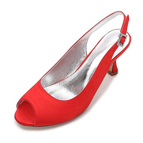 L@YC Women's Wedding T17061-17 Ivory Satin Peep Toe Bridal Bridesmaid Jane Style Low Heel Shoes 3-8 Red msBohQ