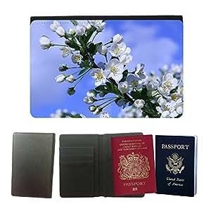 GoGoMobile Flip PU Leather Travel Passport Wallet Case with Flight Ticket Slots // M00118973 Bird Cherry Cherry Tree Blossom Tree // Universal passport leather cover