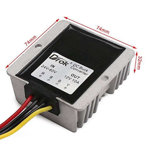 51oWZJcTM1L amazon com drok 120w 10a dc to dc waterproof club car voltage supernight voltage regulator wiring diagram at gsmx.co