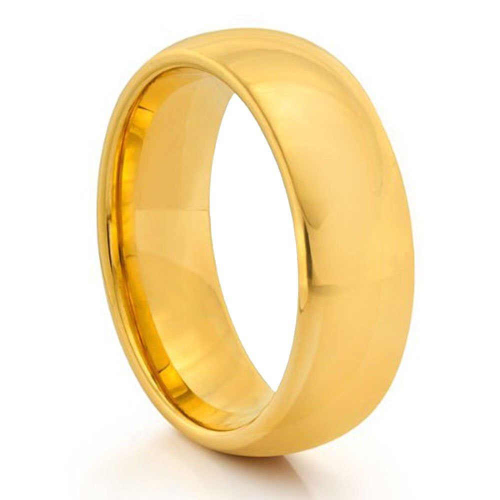 Forever Flawless Jewelry 9mm High Polish Domed Gold Plated Tungsten Carbide Wedding Band