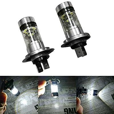 Amiley Automotive H7 Headlight LED Lights Bulbs ,2X H7 6500K 100W 20LED HID White 2323 Fog Driving DRL Light Bulbs