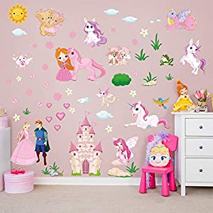 decalmile Princess Unicorn Wall Stickers Fairy Castle Wall Decals Baby Nursery Girls Bedroom Wall Decor