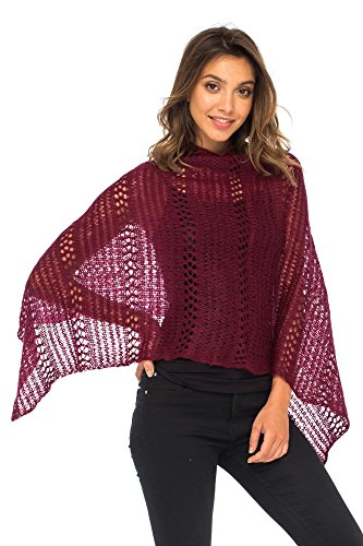 Back From Bali Womens Shrug Poncho, Lightweight Shrug Pullover Sweater Soft Maroon