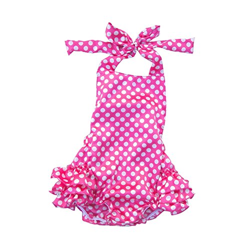 Lisianthus Baby Girls' Ruffles Romper Dress Summer Clothing Dots A Size (Infant Dress Shirts)