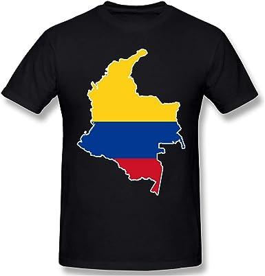 Mapa de la Bandera de Colombia Camiseta de Manga Corta para Hombres Camisetas con Cuello en O Camisetas Casual para Hombres: Amazon.es: Ropa y accesorios