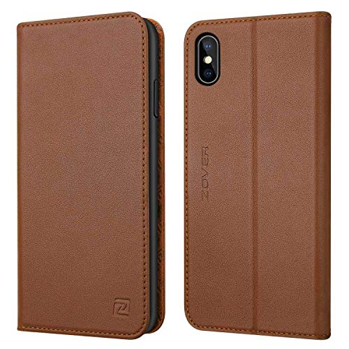 iPhone Xs Case, iPhone X Wallet Case ZOVER with Genuine Leather Case Kickstand Feature Card Slots and Magnetic Closure for Apple Phone XS/X Gift Box Brown