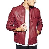 Gordania Men's Faux Leather Bomber Series Slim Fit Zipper Design Jacket
