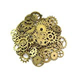 100 Gram Assorted Vintage Bronze Metal Antique Steampunk Gears Charms Pendant Clock Watch Wheel Great for Crafting DIY Jewelry Making Accessories