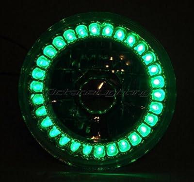 OCTANE LIGHTING 5-3/4 Halogen Motorcycle Green Led Halo Ring H4 Light Bulb Headlight For: Harley