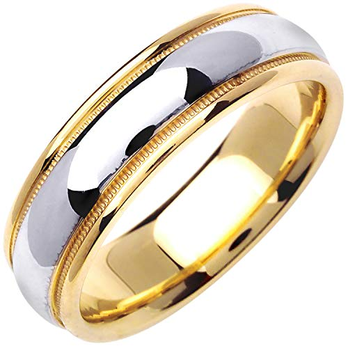 14K Two Tone (White and Yellow) Gold Center Stripe Men's Comfort Fit Wedding Band (6.5mm) Size-17c1