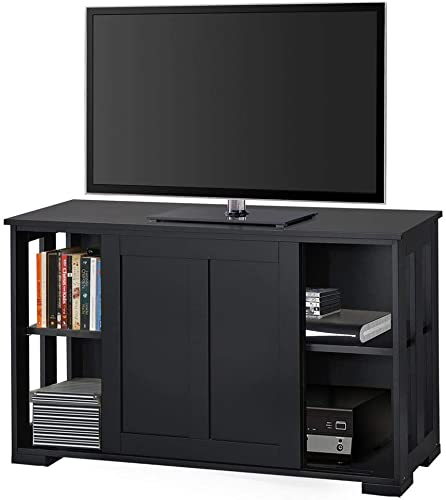 YAHEETECH TV Stand, Wooden Storage Console Table with Sliding Door and Adjustable Shelf, Free Standing Cabinet for TV up to 45 Inch, Media Entertainment Center Home Living Room Furniture, Black