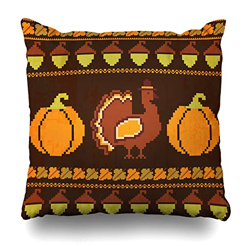 Ahawoso Throw Pillow Cover Pumpkin Autumn Embroidered Thanksgiving Pattern Turkey Pumpkins Acorns Holidays Vintage Border Canvas Home Decor Pillowcase Square Size 18 x 18 Inches Zippered Cushion Case from Ahawoso