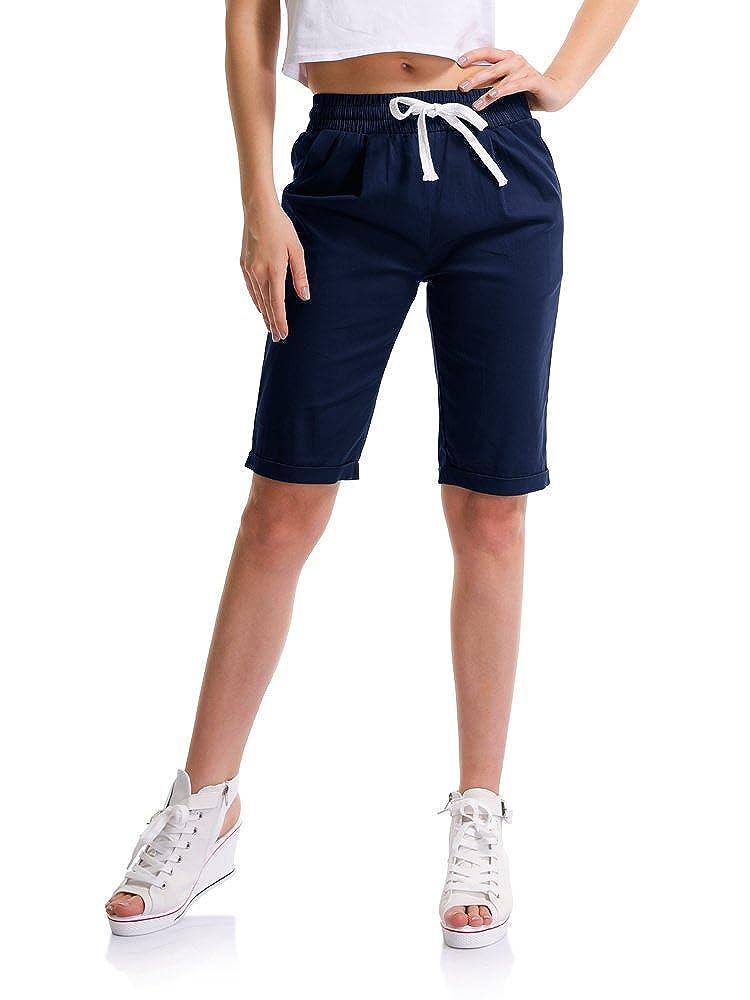 Sobrisah donne Casual coulisse in vita elastico lunghezza del ginocchio Shorts Curling Bermuda us 14 marina militare