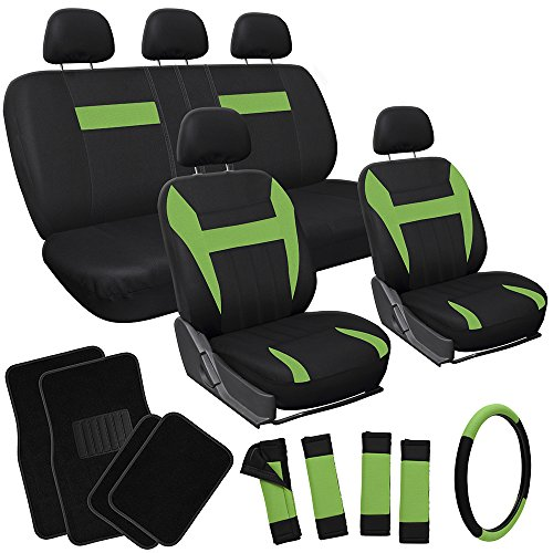 OxGord 21pc Black & Green Flat Cloth Seat Cover and Carpet Floor Mat Set for the Mitsubishi Galant Sedan, Airbag Compatible, Split Bench, Steering Wheel Cover Included (Green Mitsubishi Seat Covers compare prices)
