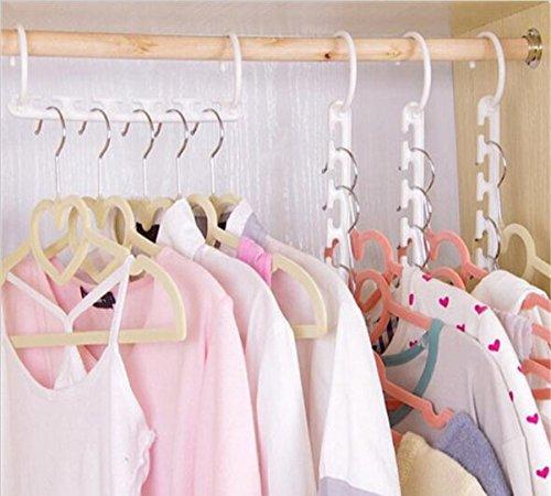URToys 5Pcs Space Saving Hanger Plastic Cloth Hanger Hook Magic Clothes Hanger With Hook Home Closet Organizer