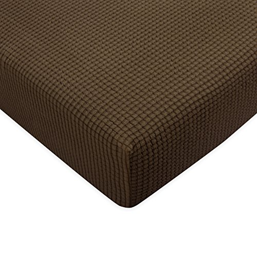 Subrtex Stretch Spandex Protector Slipcover (Chair Cushion, Coffee) (Covers Cushion Leather)