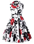Casual Retro Girls Polk Dot Swing Dresses with Belt 8yrs CL9000 5