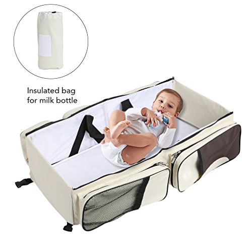 Baabyoo Baby Travel Bed and Bag Baby Diaper Bag Portable Baby Diaper Change Station 4 in 1 Folding Baby Bag Newborn Carrier Infant Bassinet Baby Tote Bag Folding Crib Baby Shower Gift (Beige)