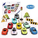 Kilpkonn Race Car Toys Set, 10 Die-Cast Metal Cars, 8 Road Sign, Mini Pull Back Toy Cars with Giftbox, Perfect Racing Car Party Favors Gift