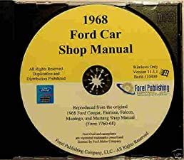 1968 ford factory repair shop service manual cd includes ford rh amazon com 68 Mustang Shelby GT500 66 Mustang