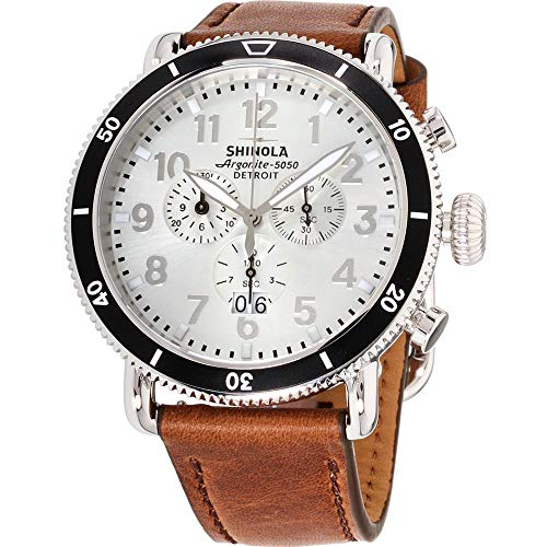 (Shinola The Runwell Sport Silver Dial Leather Strap Men's Watch S0120121779)