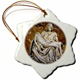 3dRose orn_82096_1 Italy Rome Vatican St. Peters Basilica Pieta Cindy Miller Hopkins Snowflake Decorative Hanging Ornament, Porcelain, 3-Inch