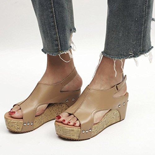 Logobeing Transpirable Sandalias Casuales Zapatillas 35 Boho Redonda de Sandalias Zapatos Playa Cuñas Verano Punta 43 Caqui Mujeres Remache XFRrX