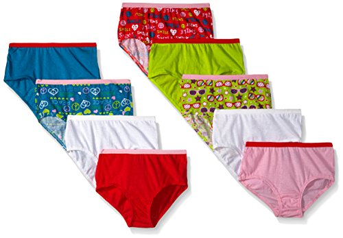 Fruit of the Loom Big Girls' Brief, Assorted, 8 (Pack of 9) -