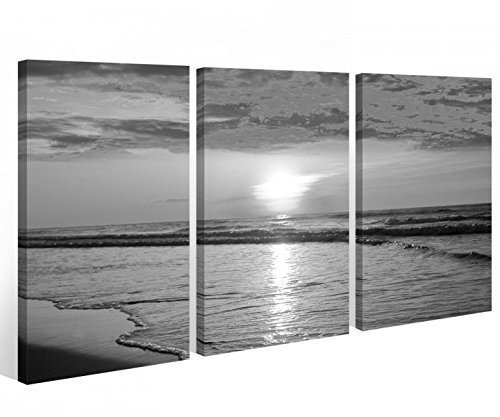 Leinwand 3 tlg. schwarz weiß Sonnenuntergang Strand Meer Sonne Bilder See 9A359 Holz - fertig gerahmt - direkt von Hersteller, 3 tlg BxH 120x80cm (3Stk 40x 80cm)