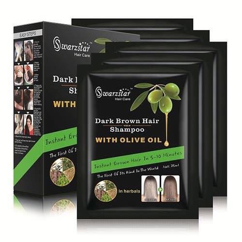 (Swarzstar Hair Color Shampoo Dark Brown with Olive Oil 125 ml Pack of 5 Sachets = 25ml x 5)