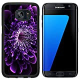 Liili Samsung Galaxy S7 Edge Aluminum Backplate Bumper Snap Case Beautiful purple flower on black background Computer generated graphics 28017852