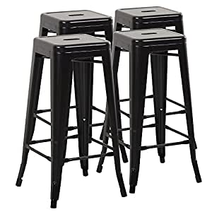 Mimo Living Backless Indoor Outdoor Stackable Waterproof Bar Stools, Set of 4, Black