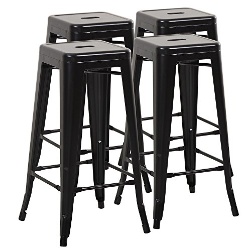 Backless Stool Black (Mimo Living Backless Indoor Outdoor Stackable Waterproof Bar Stools, Set of 4, Black)